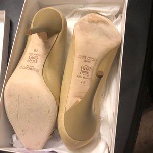 Jimmy Choo Shoes - Authentic Jimmy Choo Canvas Peep Toe Heels